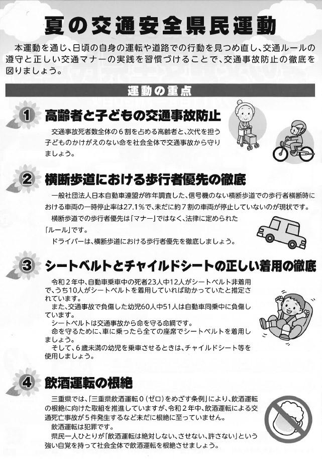 2021年 夏の交通安全件県民運動・裏